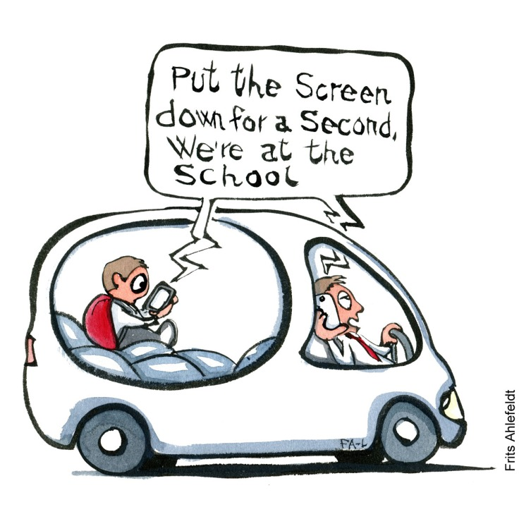 """Drawing of a kid and man in car, each with phone. and voice saying: """" put the screen down for a second, we're at the school. Illustration by Frits Ahlefeldt"""