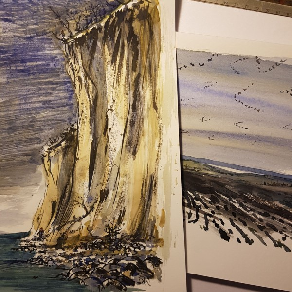 Watercolor sketches from moen, møn , Denmark. By Frits Ahlefeldt