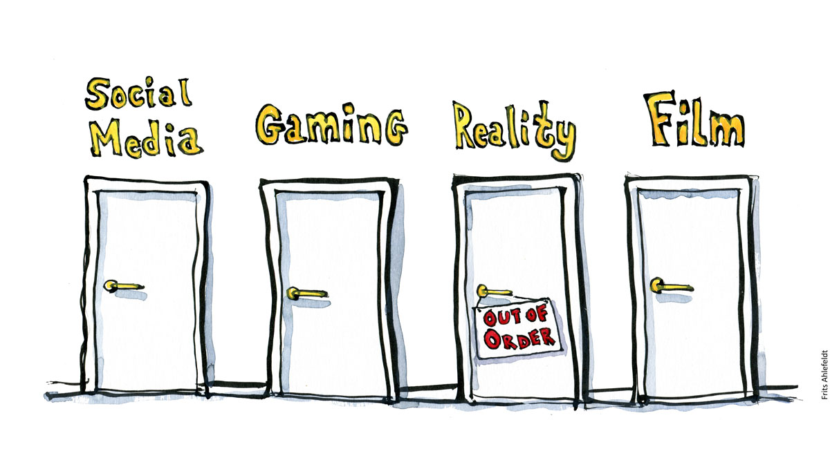 Drawing of four doors, Social media, gaming, reality ( out of order sign) and Film. Cartoon illustration by Frits Ahlefeldt