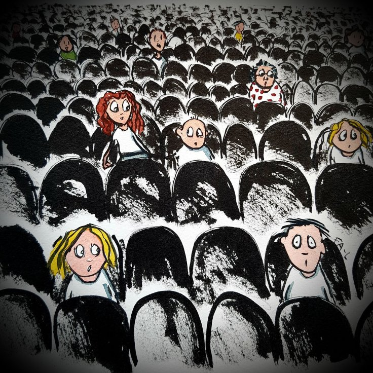 illustration of people sitting on chairs far from each other an audience somewhere. Drawing by Frits Ahlefeldt