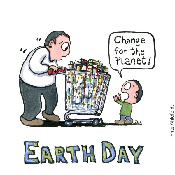 Illustration of a kid in front of a shopping wagon, stopping a man. And the text Earth day underneath. Illustration by Frits Ahlefeldt