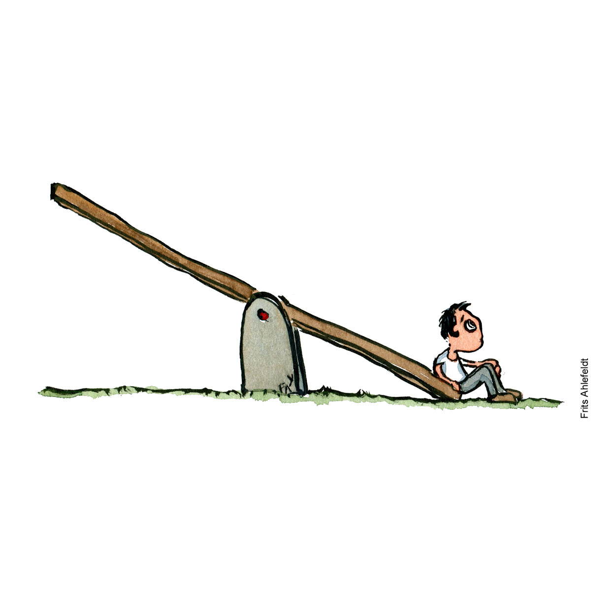 Illustration of a lonely boy on a seesaw. Drawing by Frits Ahlefeldt
