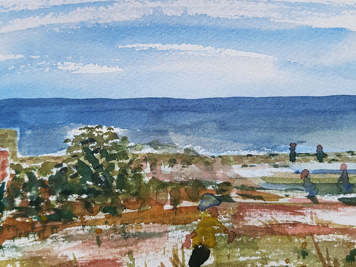 Watercolor sketch from Christiansø in the baltic sea. Art by Frits Ahlefeldt