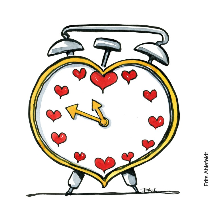 Drawing of an alarm clock, with hearts as numbers. Illustration by Frits Ahlefeldt