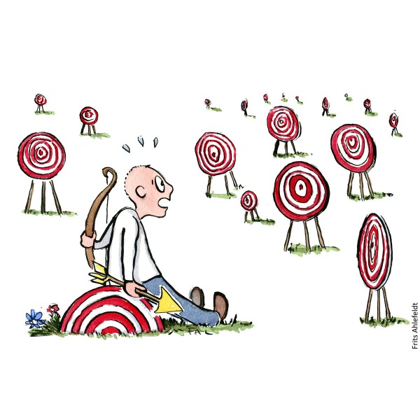 Drawing of a man with bow and arrow sitting in front of many targets. Hand drawn illustration by Frits Ahlefeldt