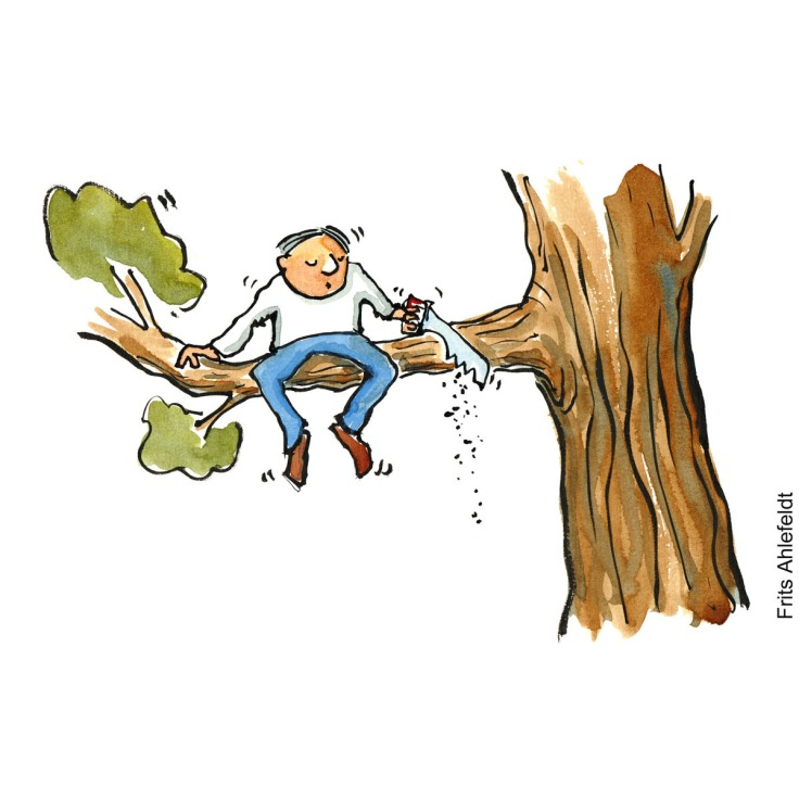 Drawing of a man sitting with a saw on a branch cutting it over. Hand drawn illustration by Frits Ahlefeldt