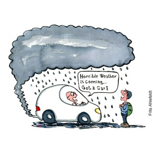 """Drawing of a man in car telling hiker """"horrible weather is coming, get a car"""" Hand drawn illustration by Frits Ahlefeldt"""