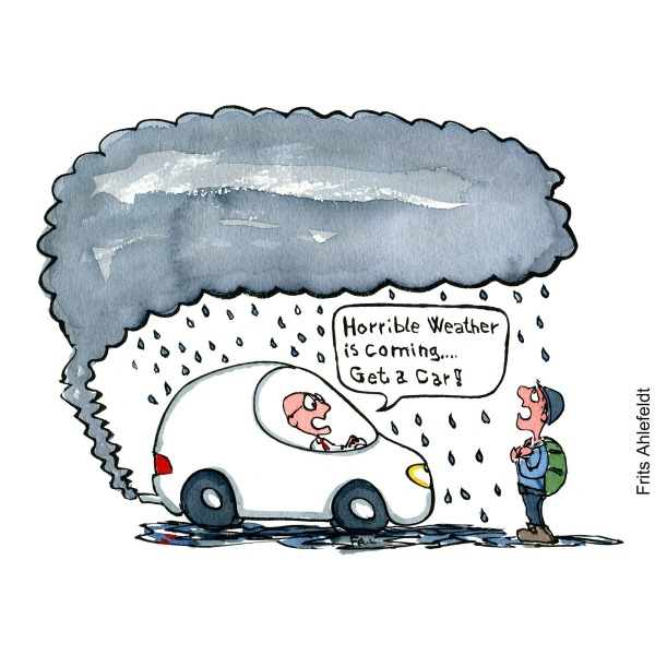 "Drawing of a man in car telling hiker ""horrible weather is coming, get a car"" Hand drawn illustration by Frits Ahlefeldt"