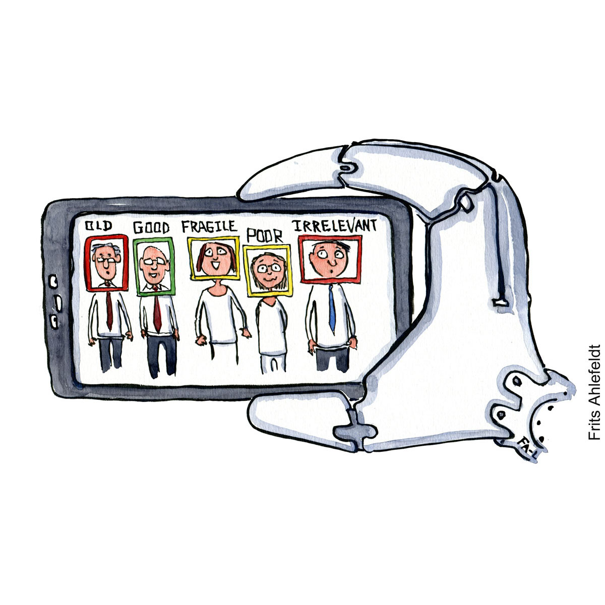 Drawing of a robot hand holding a phone with face evaluation of people. Hand drawn illustration by Frits Ahlefeldt