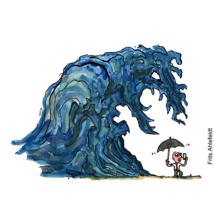 Drawing of a monster wave about to hit a man with umbrella and phone. Hand drawn climate illustration by Frits Ahlefeldt