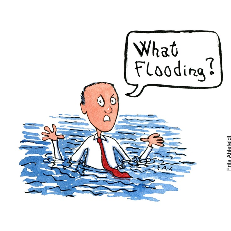 """Drawing of a businessman in water, asking """"what flooding?"""" Hand drawn illustration by Frits Ahlefeldt"""