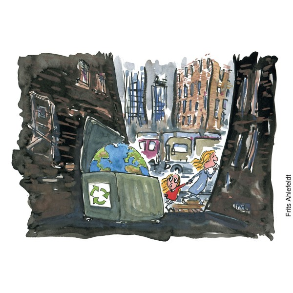 Drawing of a girl and busy mother on phone walking in the city, passing by Planet Earth thrown into a dustbin, in an alley. Environment Illustration by Frits Ahlefeldt