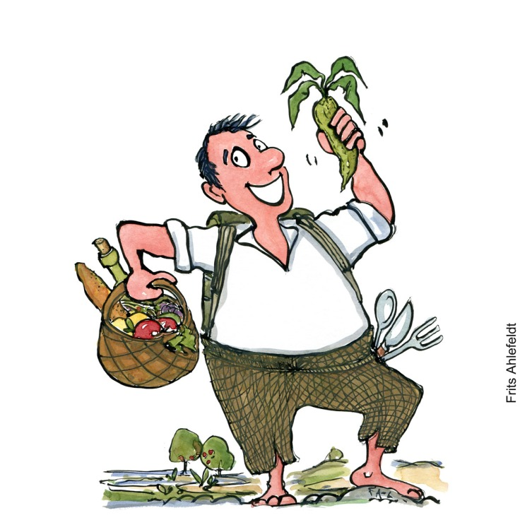 Drawing of a man looking happy, standing with a food basket outdoors. Local food illustration by Frits Ahlefeldt