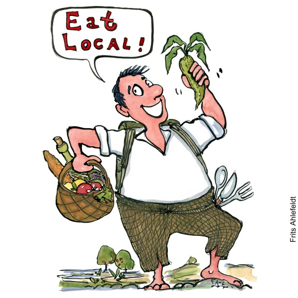 Drawing of a man looking happy, standing with a food basket outdoors. Local food. Saying Eat local. illustration by Frits Ahlefeldt
