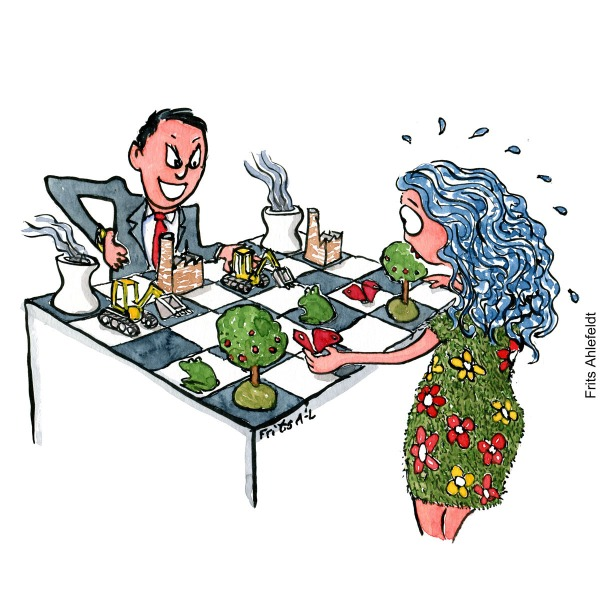 Drawing of a businessman in suit, moving industry towards trees and frogs on a chessboard. with Mother Earth on the other side. Environment illustration by Frits Ahlefeldt