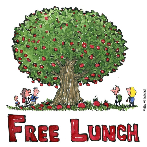 "Drawing of hikers around a fruit tree, smiling and the text ""Free lunch"" illustration by Frits Ahlefeldt"