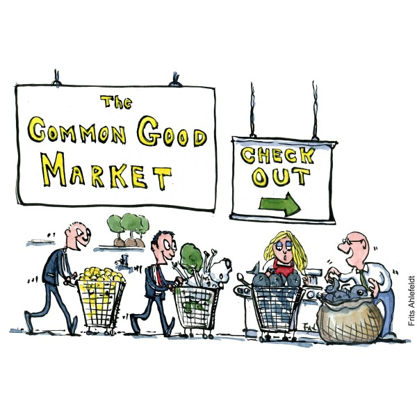 Drawing of businessmen with nature and animals in their shopping trolly. Checking out. Environment illustration by Frits Ahlefeldt