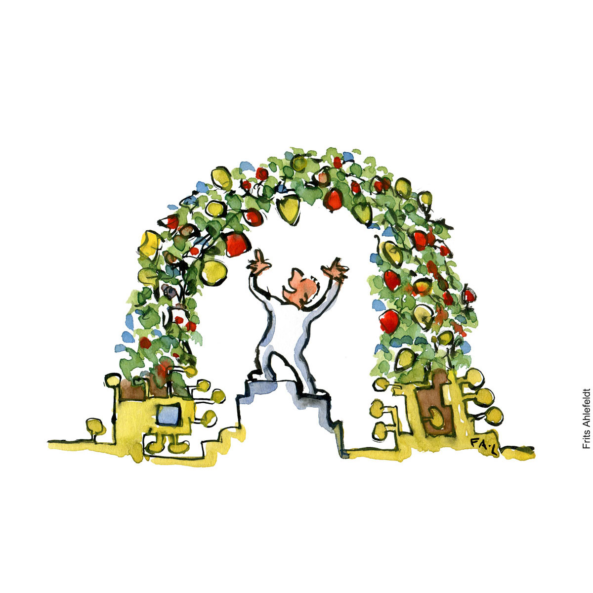 Drawing of a man making high tech food plants grow. illustration by Frits Ahlefeldt