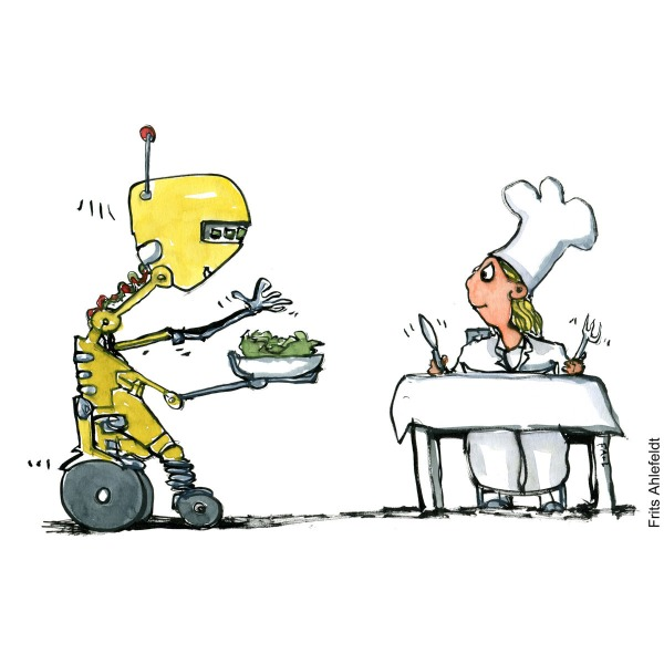 Drawing of a yellow robot with a food bowl serving food for a chef girl. Food technology illustration by Frits Ahlefeldt