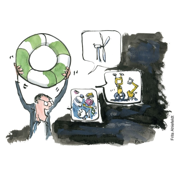 Drawing of a man lifting a green lifebuoy while talking sustainability investments. Environment illustration by Frits Ahlefeldt