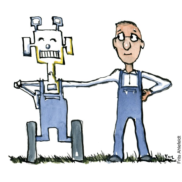 drawing of a robot and a worker man in blue workwear, merged in hand. Technology illustration by Frits Ahlefeldt