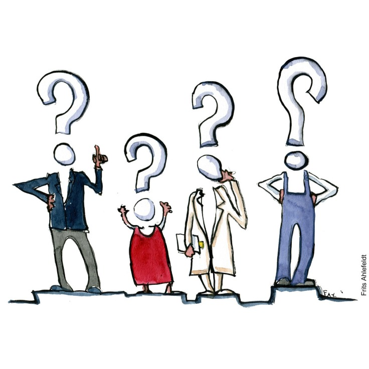 Drawing of persons as questions. illustration by Frits Ahlefeldt