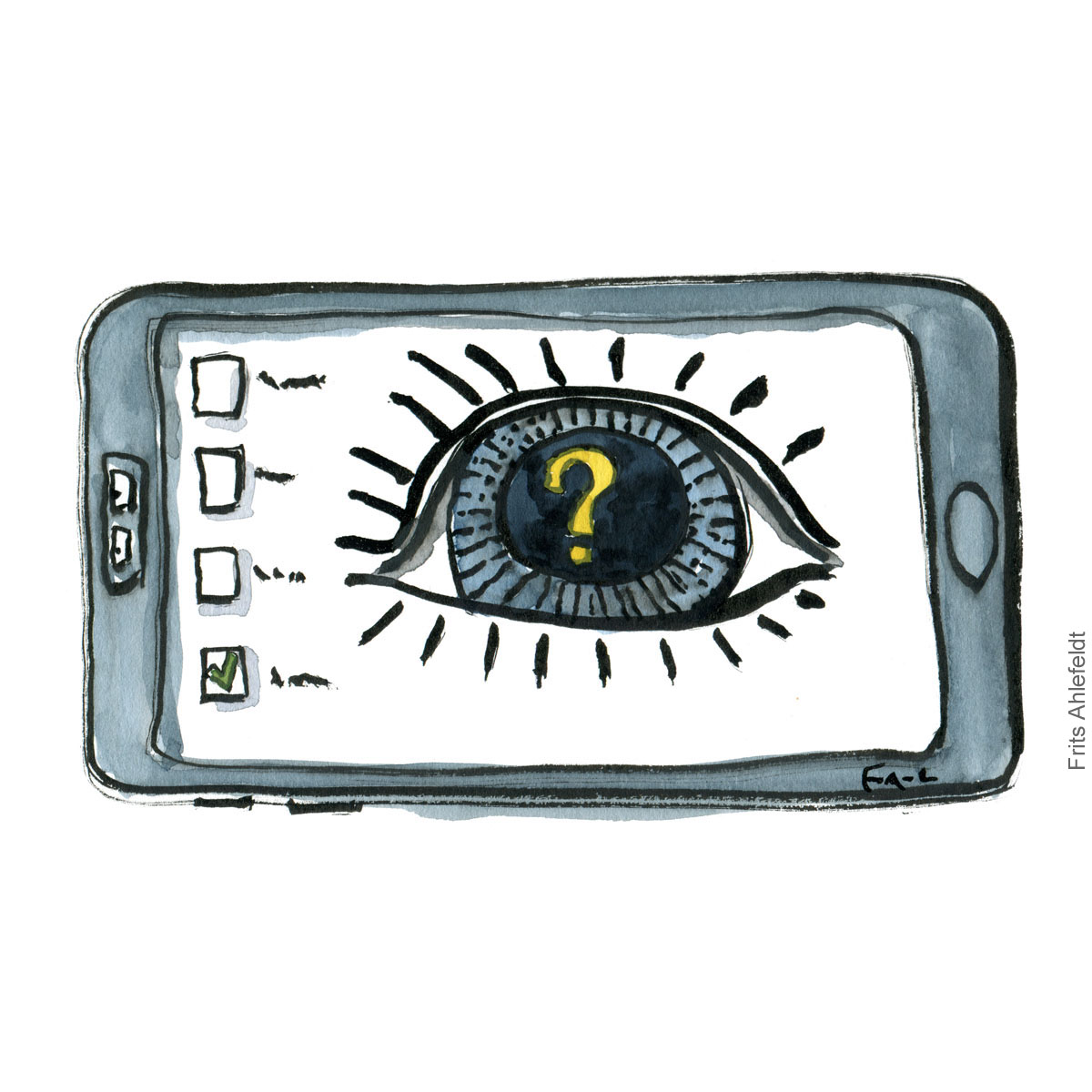 Drawing of a phone with eye in it.
