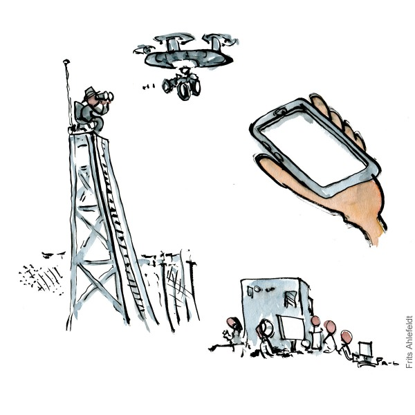Drawing of digital surveillance systems. illustration handmade by Frits Ahlefeldt