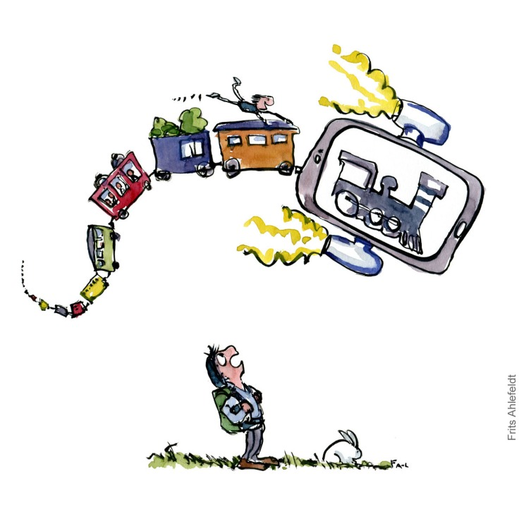 Drawing of a flying phone with a train on it. A hiker watching it. illustration handmade by Frits Ahlefeldt