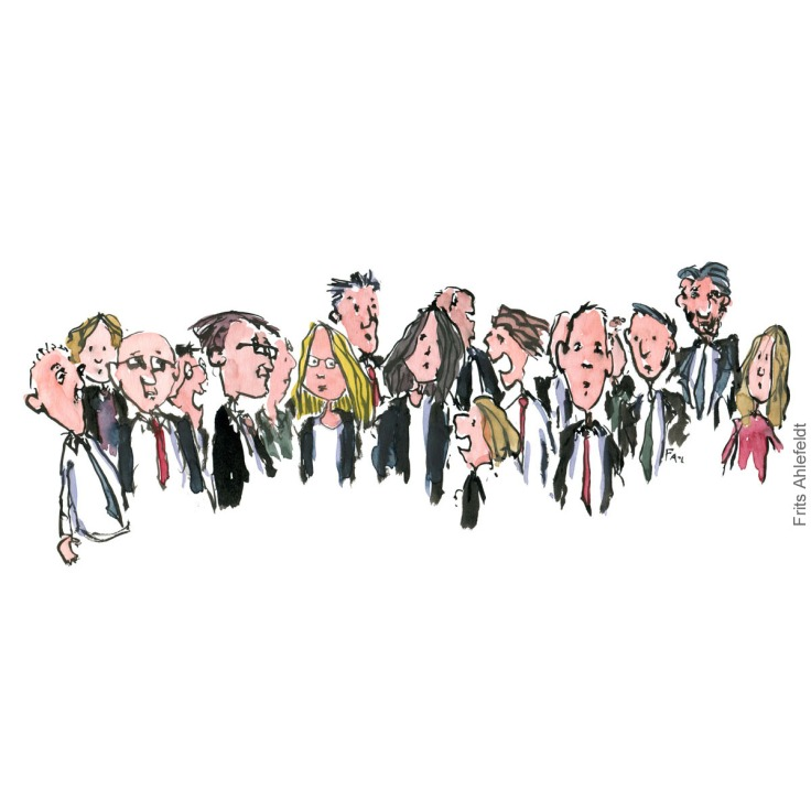 Drawing of a group of people. illustration handmade by Frits Ahlefeldt
