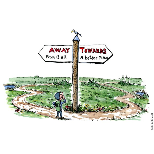 Drawing of a hiker in front of a sign on a trail, illustration handmade by Frits Ahlefeldt