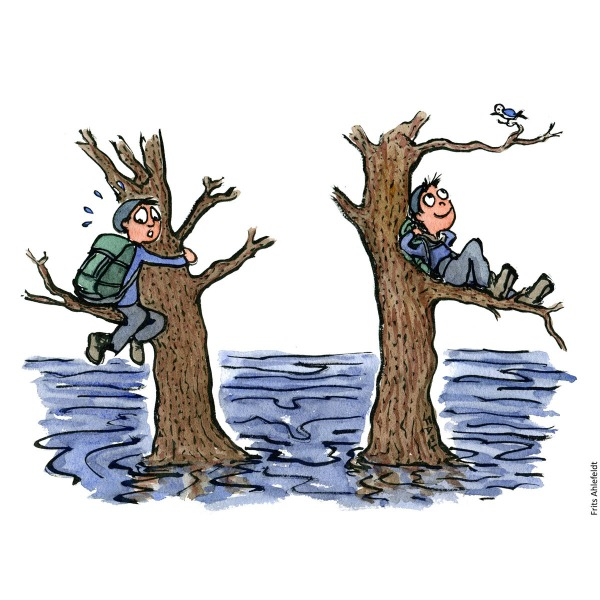 Drawing of a hiker sitting in a tree, two situations. Looking scared and looking relaxed. Illustration handmade by Frits Ahlefeldt