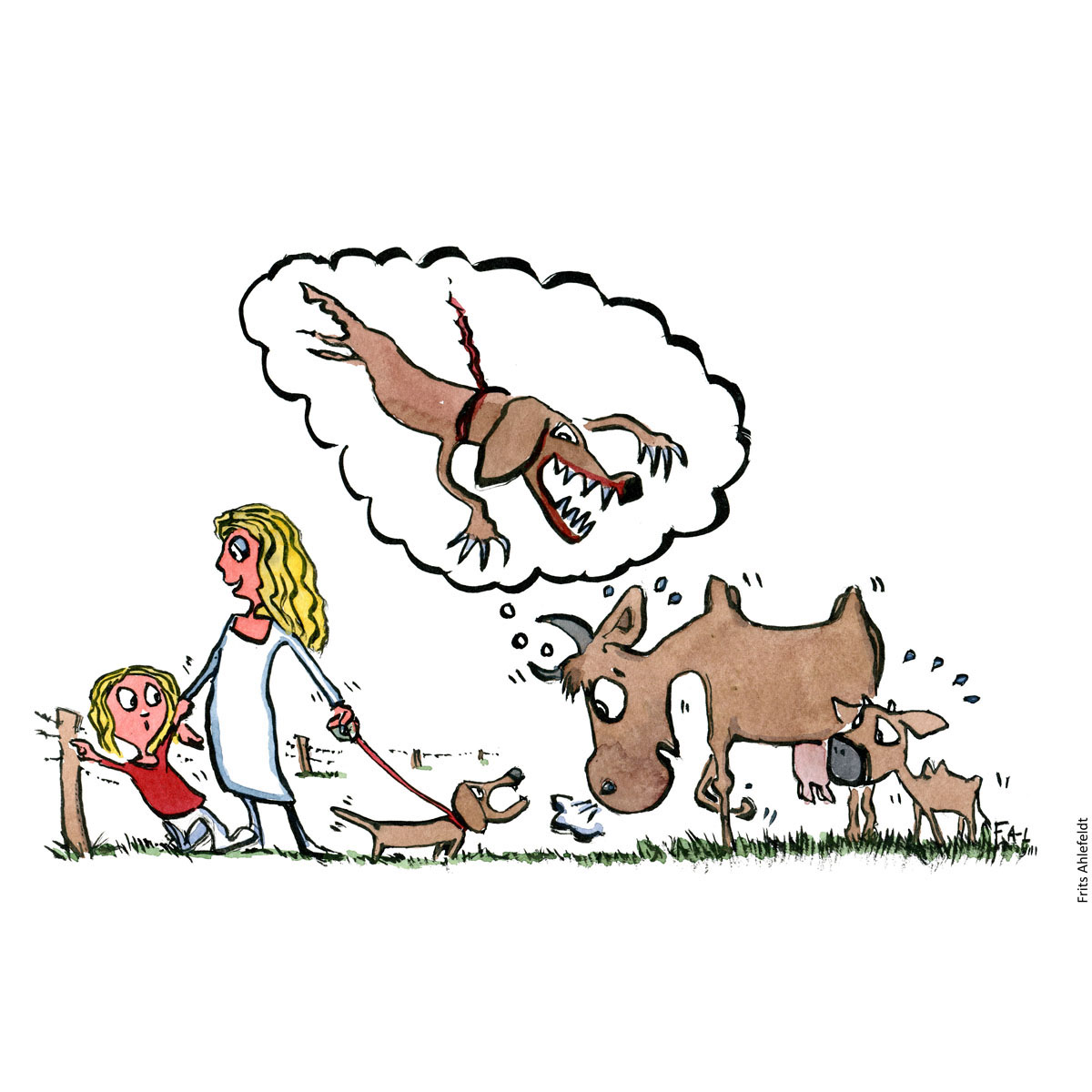 Drawing of a cow looking at a dog, seeing a predator. how cows see dogs. Illustration handmade by Frits Ahlefeldt