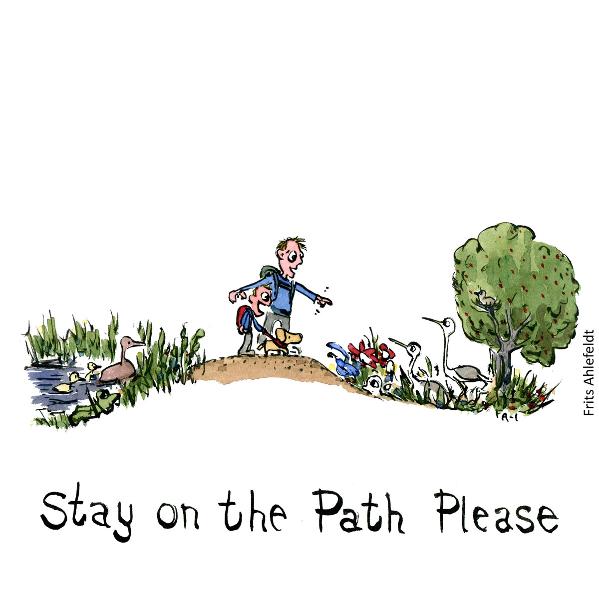 Drawing of two hikers, man and boy on path. with nature around them. Illustration handmade by Frits Ahlefeldt