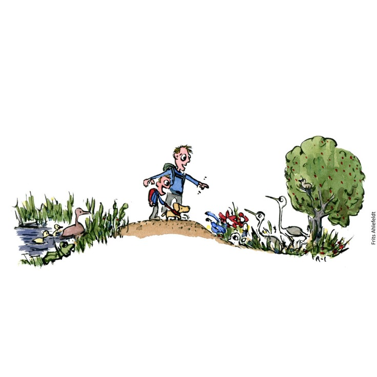 Drawing of a man, dog and boy on a path, with nature around them. Illustration handmade by Frits Ahlefeldt