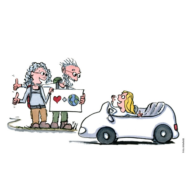 Drawing of an old couple hitchhiking to help save the planet. Illustration handmade by Frits Ahlefeldt