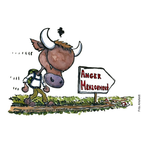 Drawing of an angry bull with backpack, walking towards a sign saying Anger management. Illustration handmade by Frits Ahlefeldt