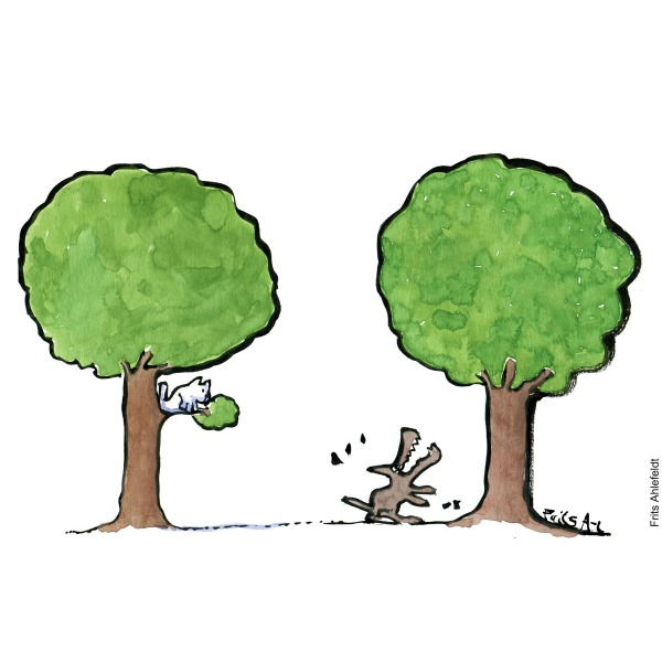 Drawing of a dog barking up a tree, with a cat in a tree behind it. Illustration handmade by Frits Ahlefeldt