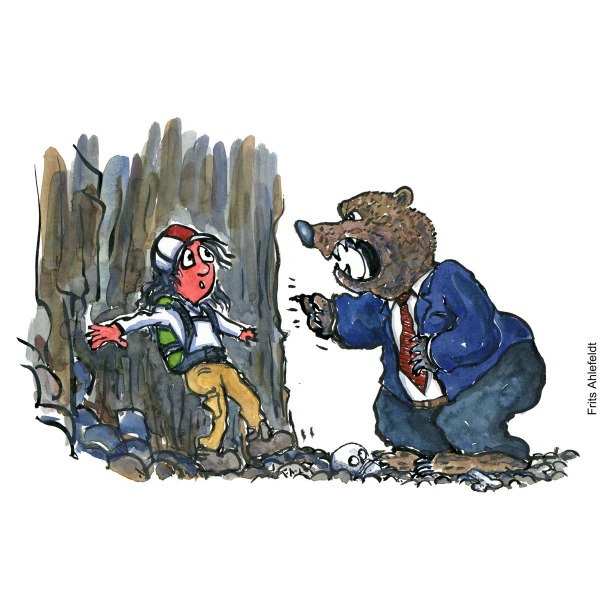 Drawing of a man up a wall, with a bear in suit attacking him verbally. Illustration handmade by Frits Ahlefeldt