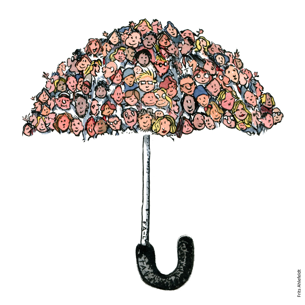 Drawing of an umbrella made up of faces of people, Illustration handmade by Frits Ahlefeldt