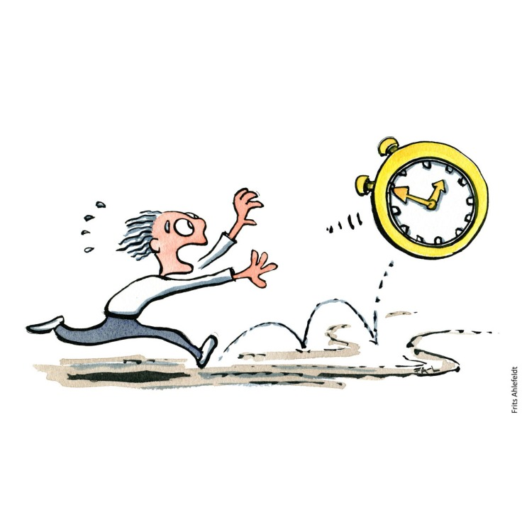 Drawing of a man running after a clock time Illustration handmade by Frits Ahlefeldt