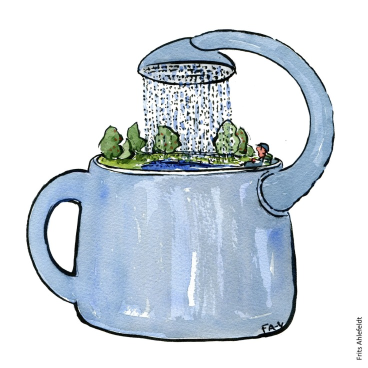 Drawing of a watering can raining on itself. With nature inside and hiker. Illustration handmade by Frits Ahlefeldt