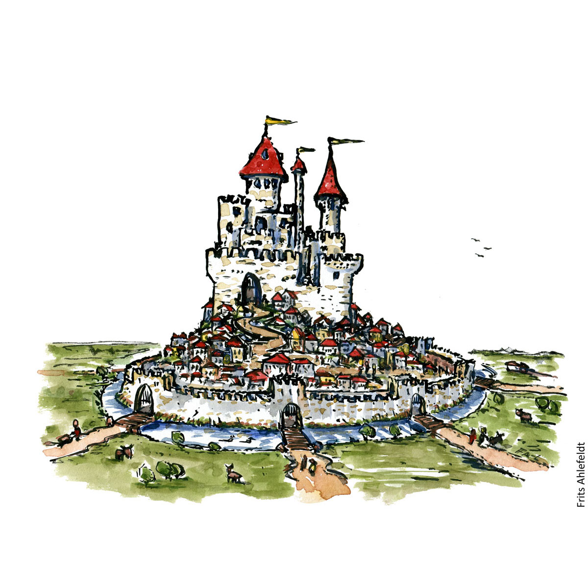 Drawing of a medieval looking city. Illustration handmade by Frits Ahlefeldt