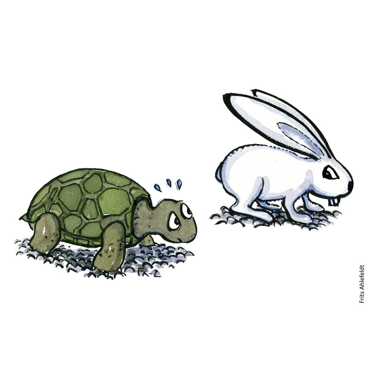 Drawing of a turtle racing a white rabbit illustration handmade by Frits Ahlefeldt