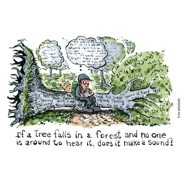 Drawing of a hiker in the forest sitting on a fallen tree texted. illustration handmade by Frits Ahlefeldt