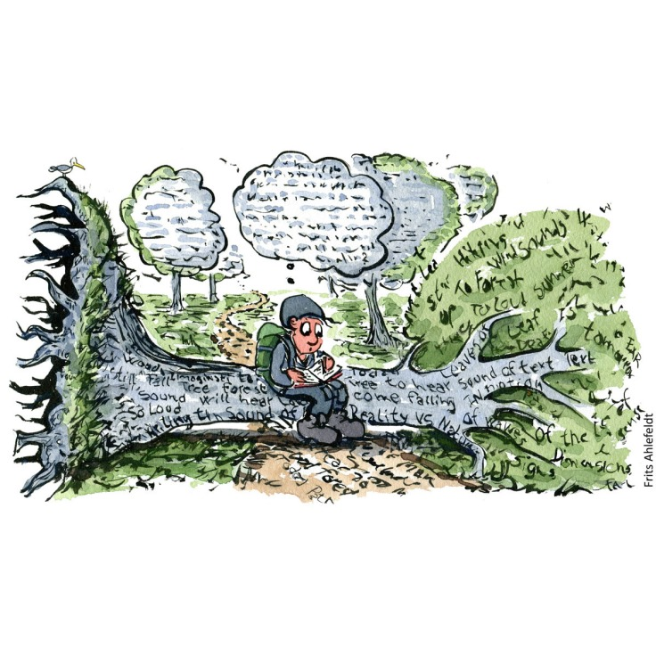 Drawing of a hiker sitting on a fallen tree in the forest with text on it. Writing in notebook. Hiking illustration handmade by Frits Ahlefeldt
