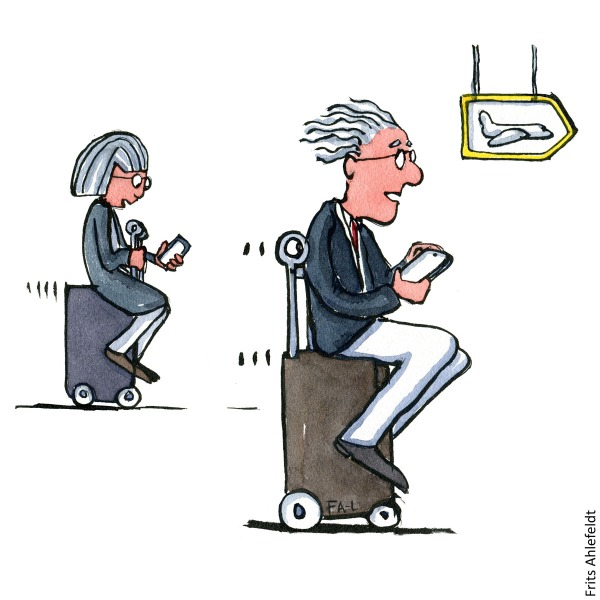 Drawing of senior nomads on self-driving suitcases. Travel illustration handmade by Frits Ahlefeldt