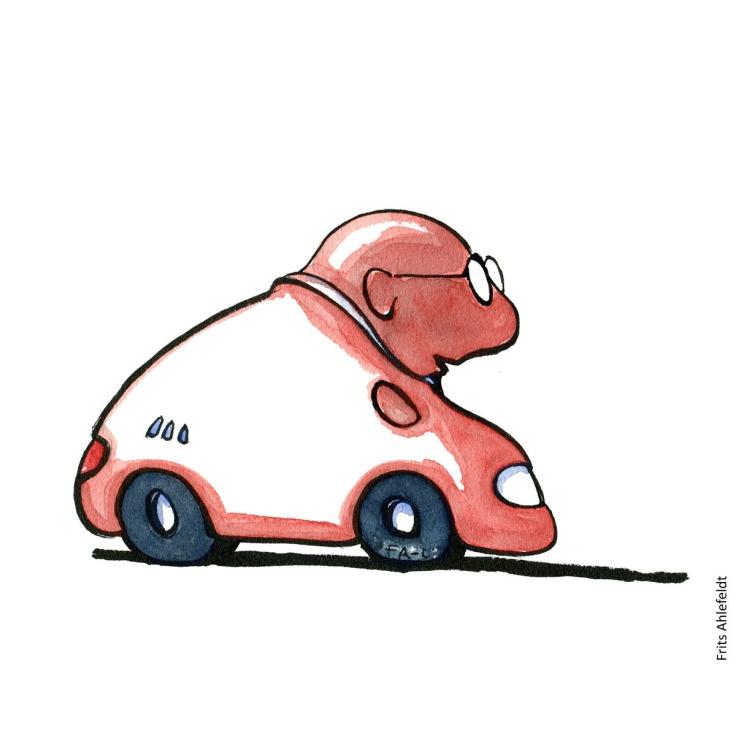 Drawing of a creature half man, half car. illustration handmade by Frits Ahlefeldt