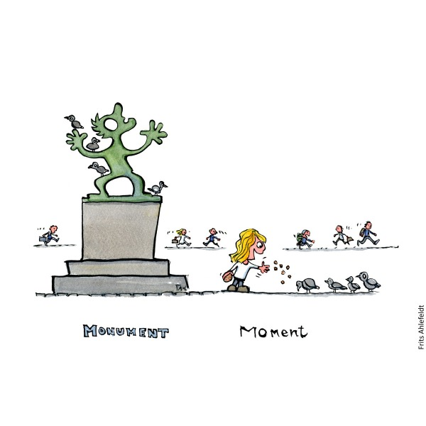 Drawing of a girl feeding pigeons and the text moment, next to monument, with text. illustration and idea by Frits Ahlefeldt
