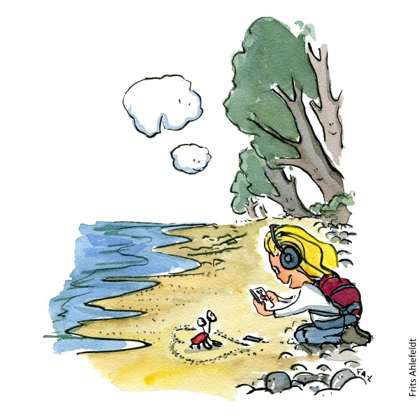 Drawing of a young girl with phone taking photo along the coast. Hiking illustration and idea by Frits Ahlefeldt